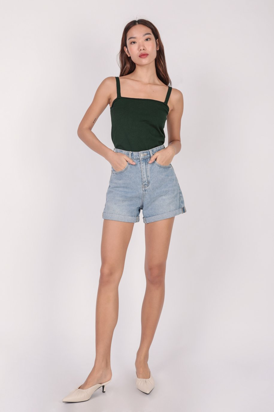 Mara Knit Spag Top (Forest)