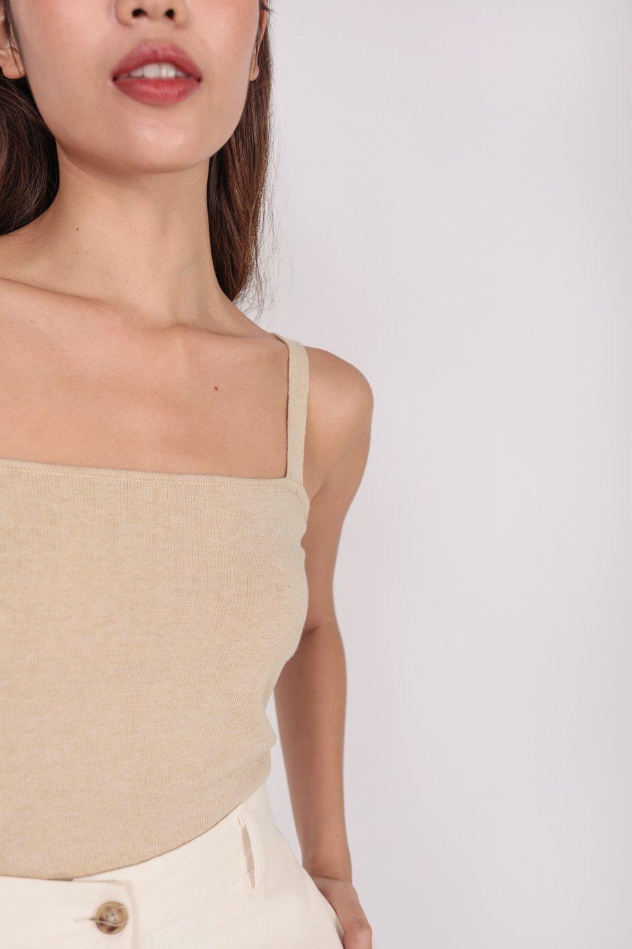 Mara Knit Spag Top (Wheat)