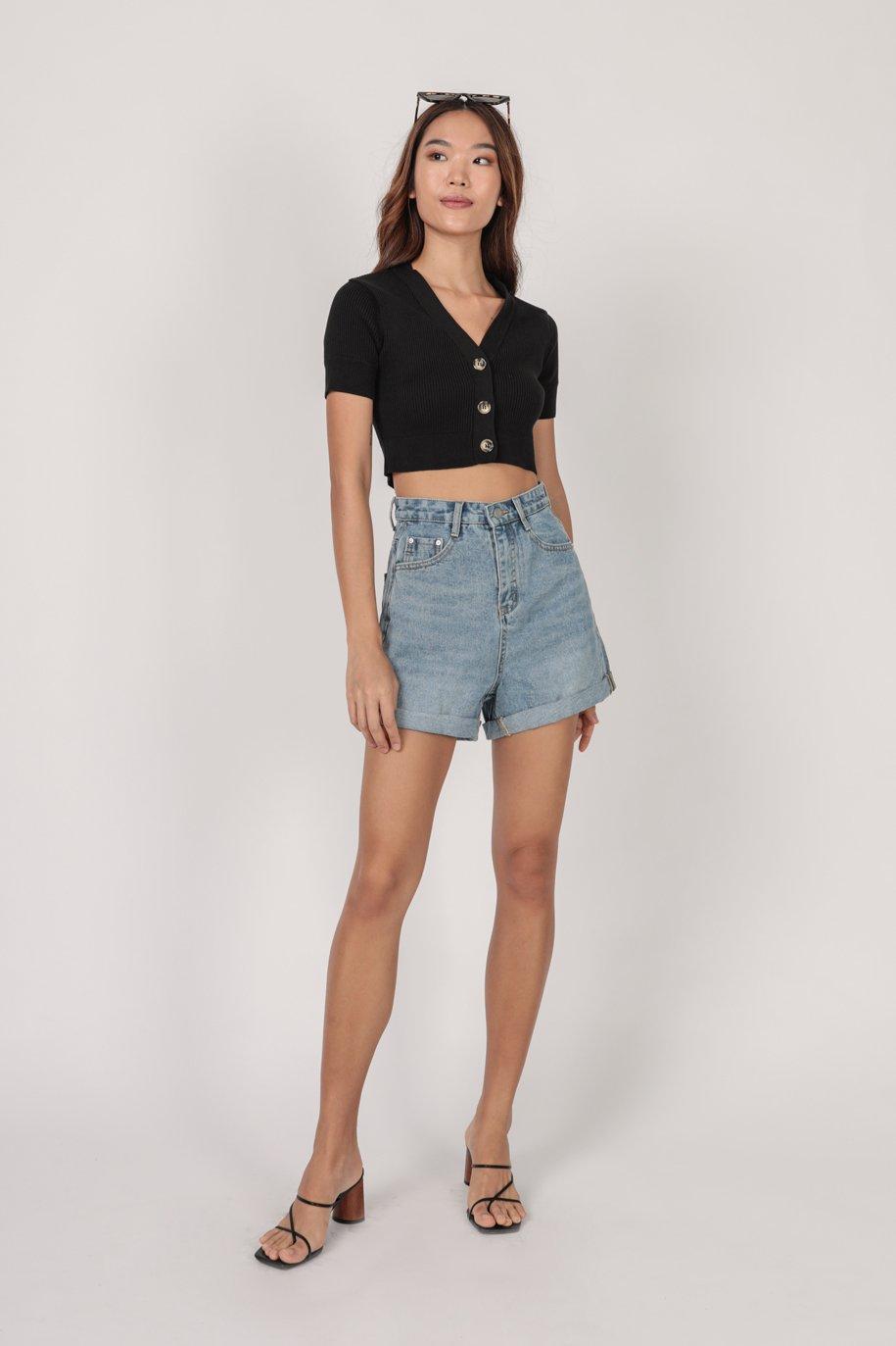 Marcie Button Knit Top (Black)