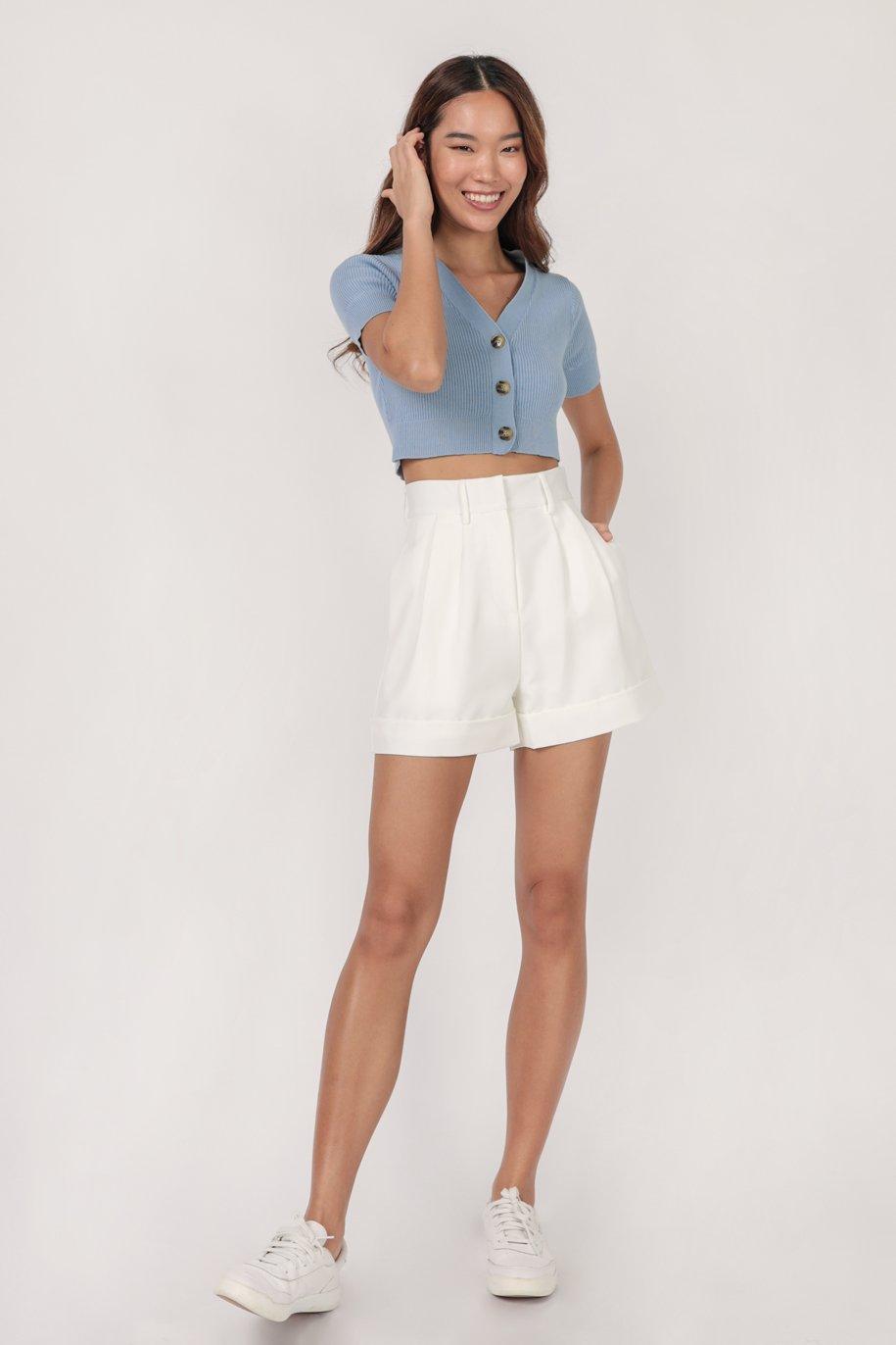 Marcie Button Knit Top (Blue)