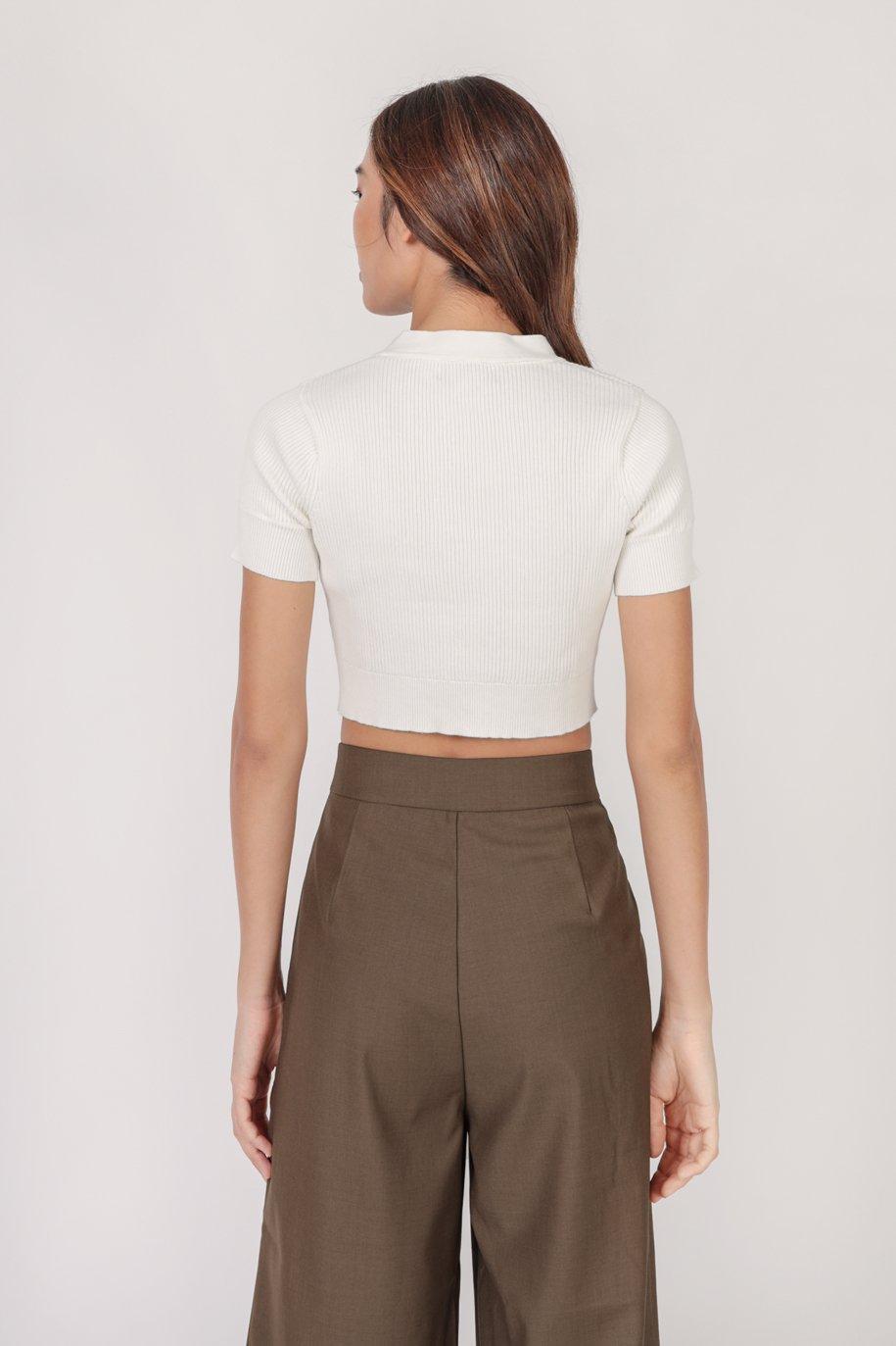Marcie Button Knit Top (White)