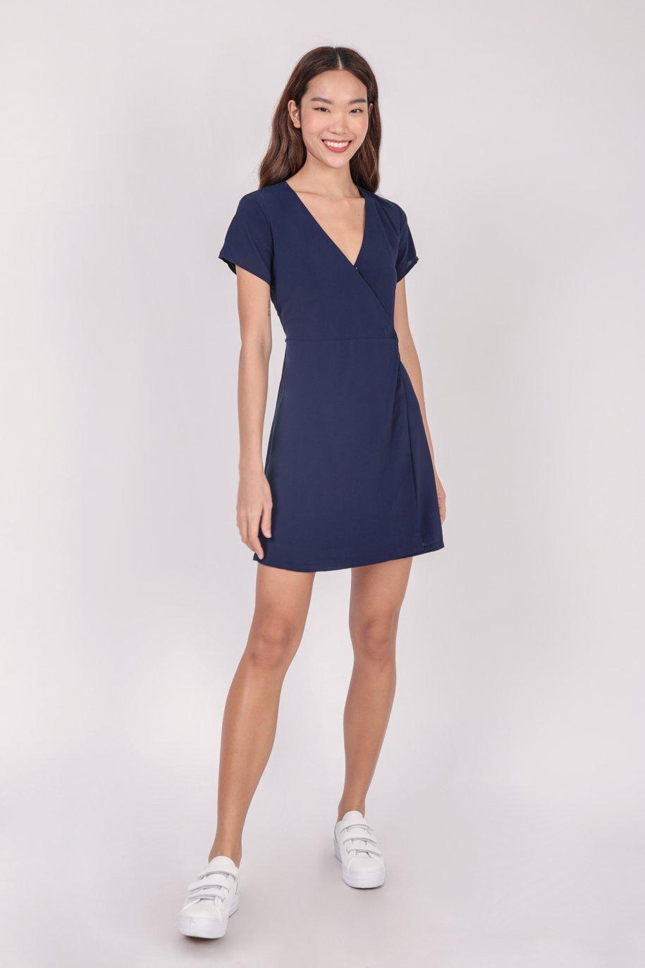 Remy Sleeved Dress (Navy)
