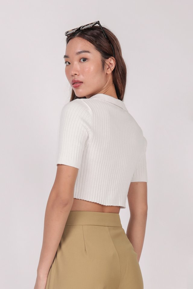 Clyde Collared Top (White) - Preview
