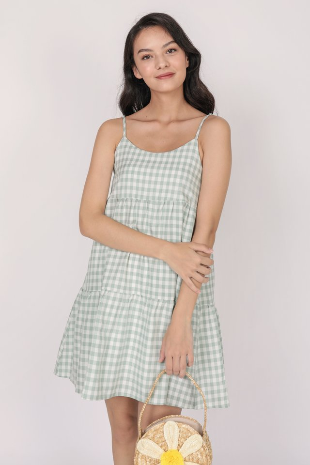 Emmy Tiered Spag Dress (Green Gingham)