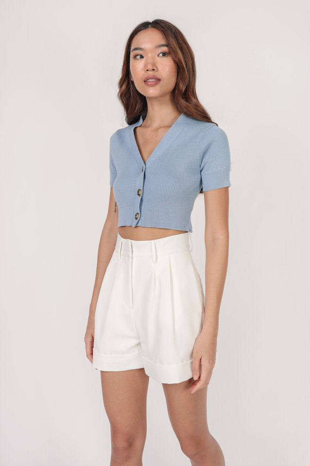 Marcie Button Knit Top (Blue)