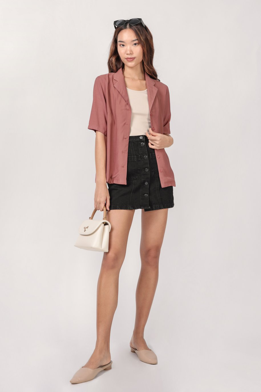 Arvin Button Up Blouse (Redwood)