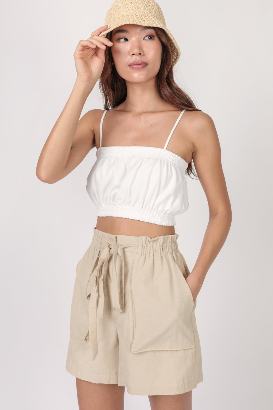 Mallory Cropped Top (White)