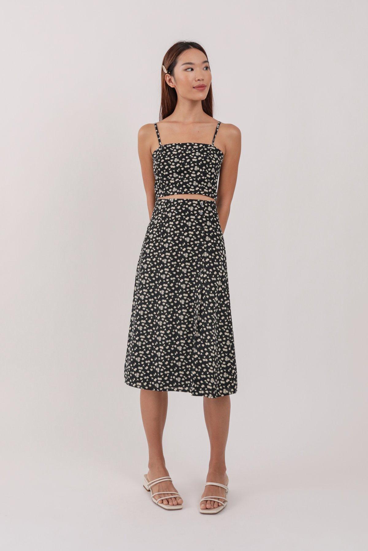 Margo Midi Skirt (Black Daisy)