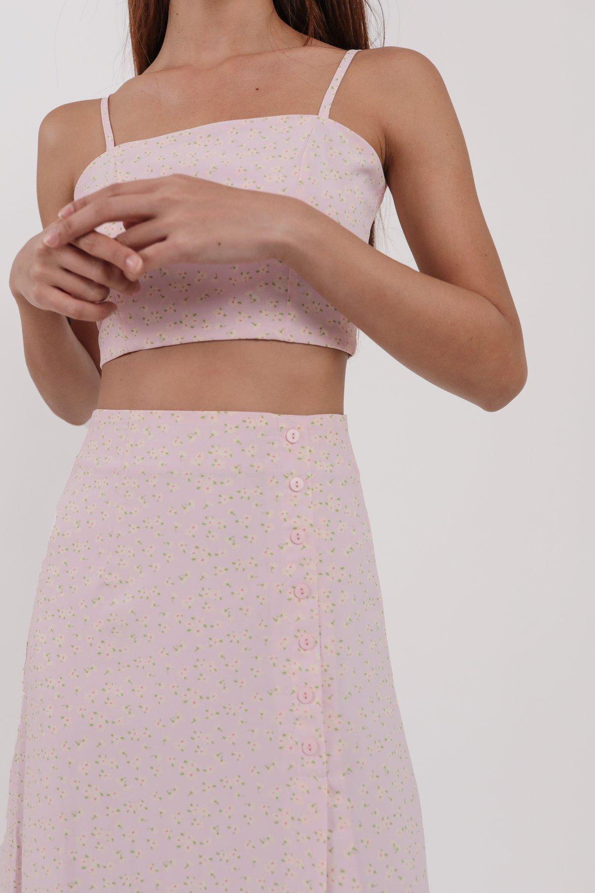 Margo Midi Skirt (Pink Daisy)