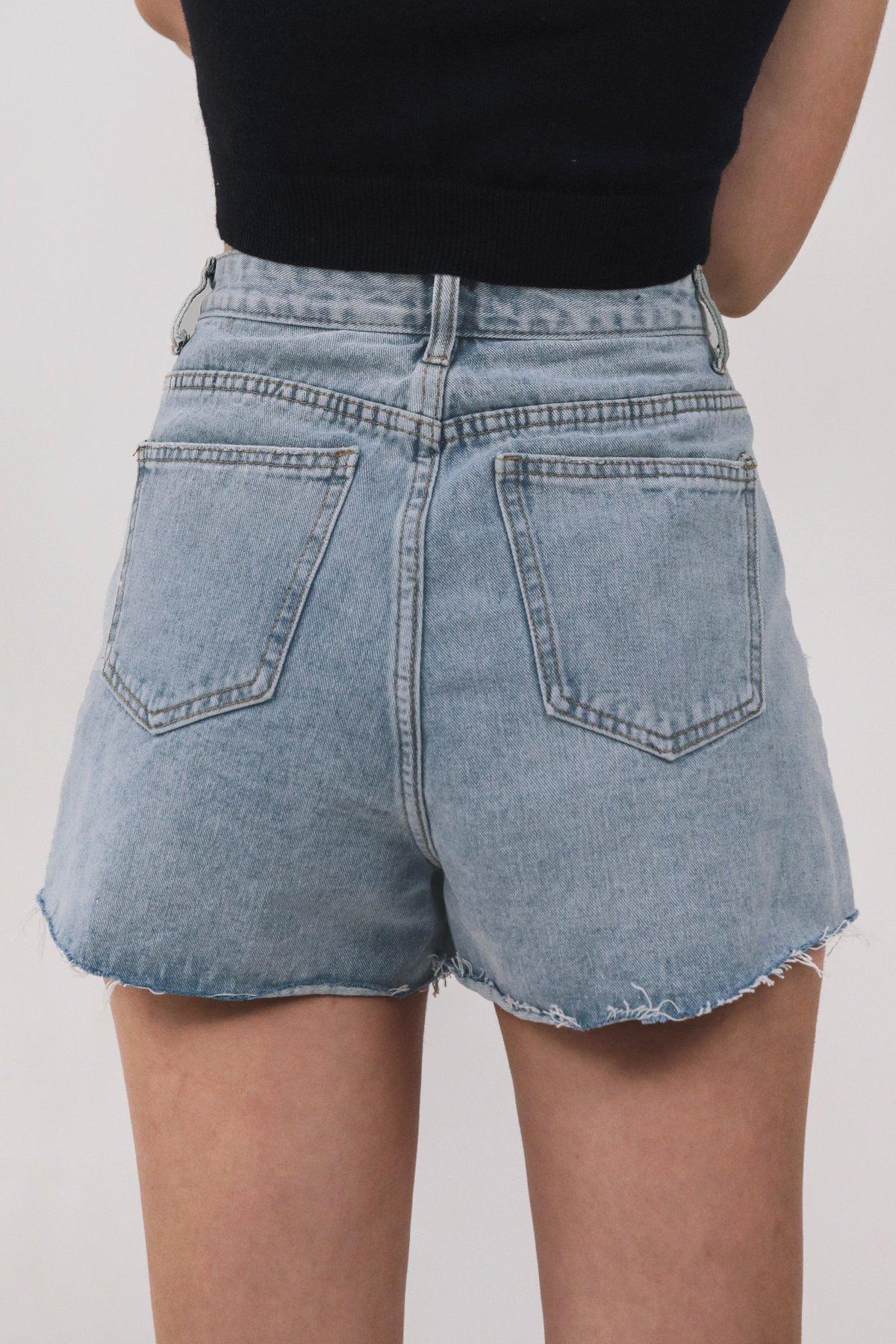 Adam Frayed Denim Shorts (Mid Wash)