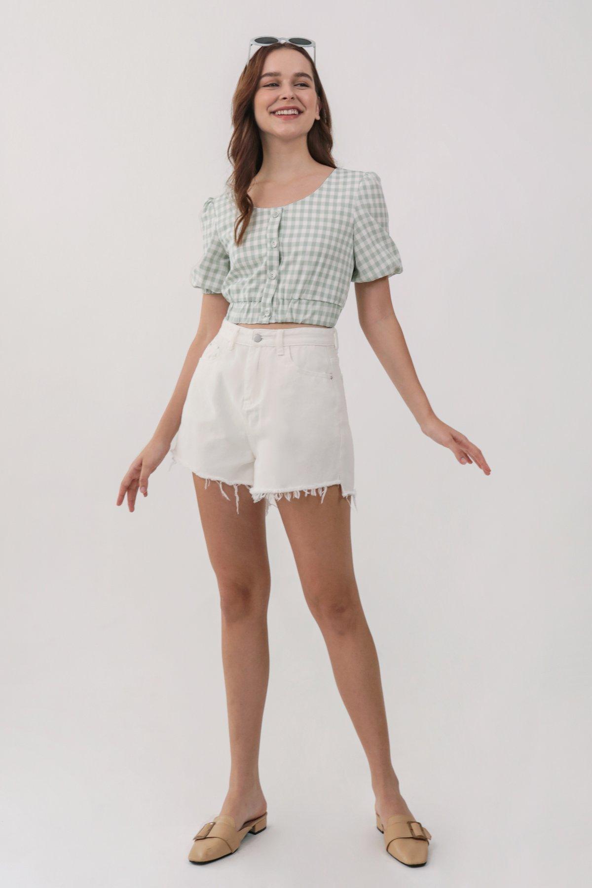 Adam Frayed Denim Shorts (White)