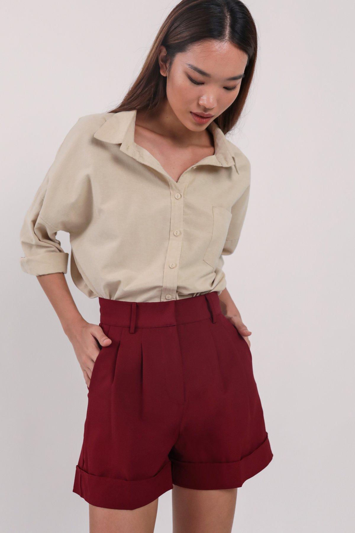 Brook Tailored Shorts (Maroon)