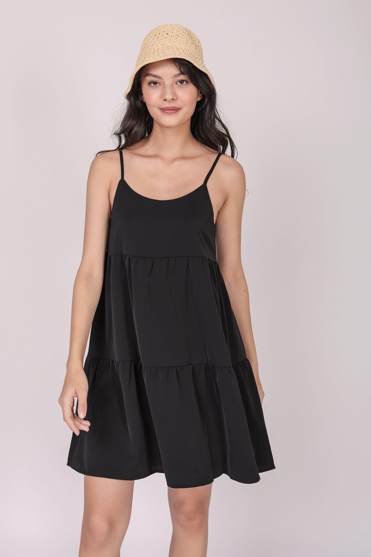 Emmy Tiered Spag Dress (Black)