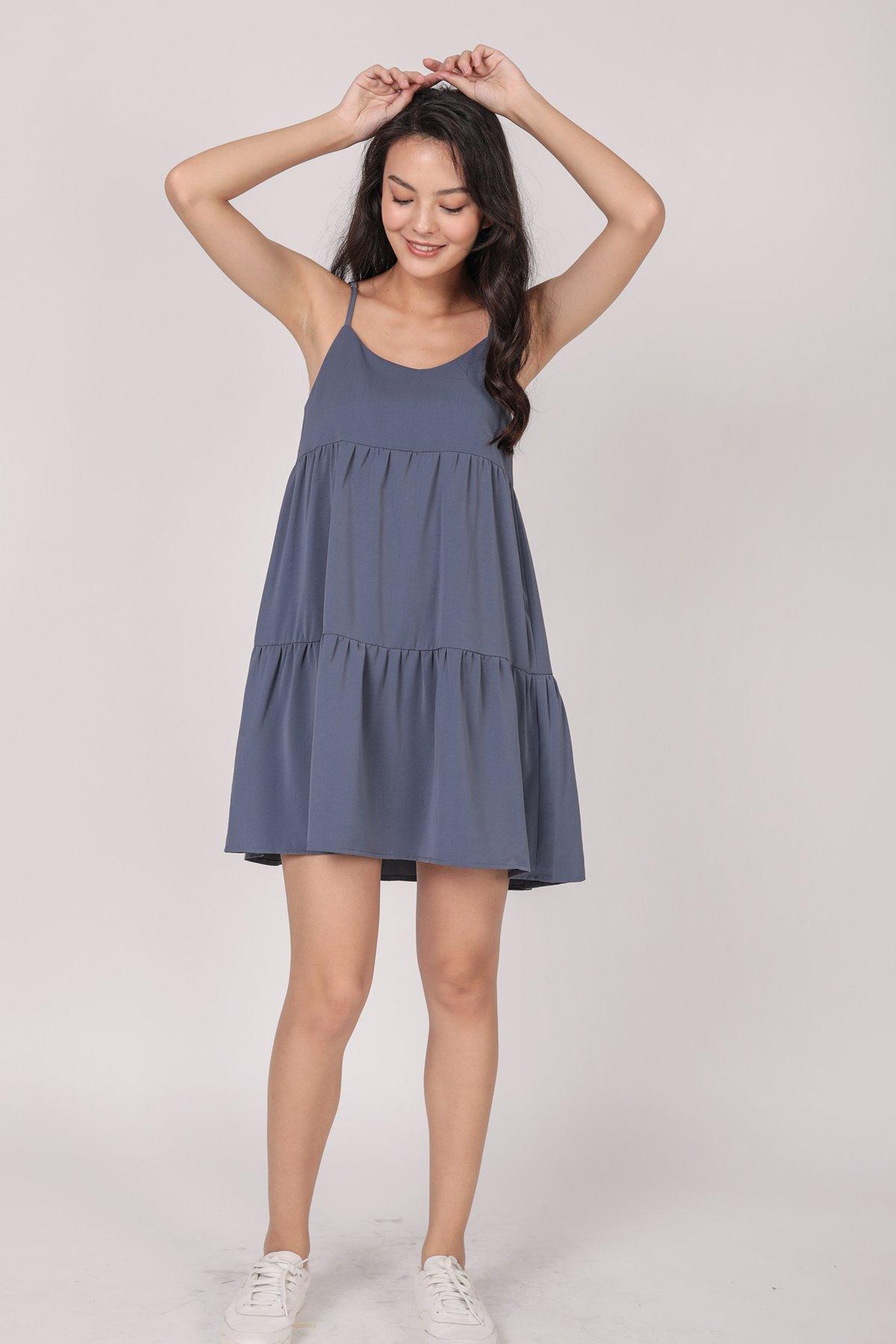 Emmy Tiered Spag Dress (Dusty Blue)