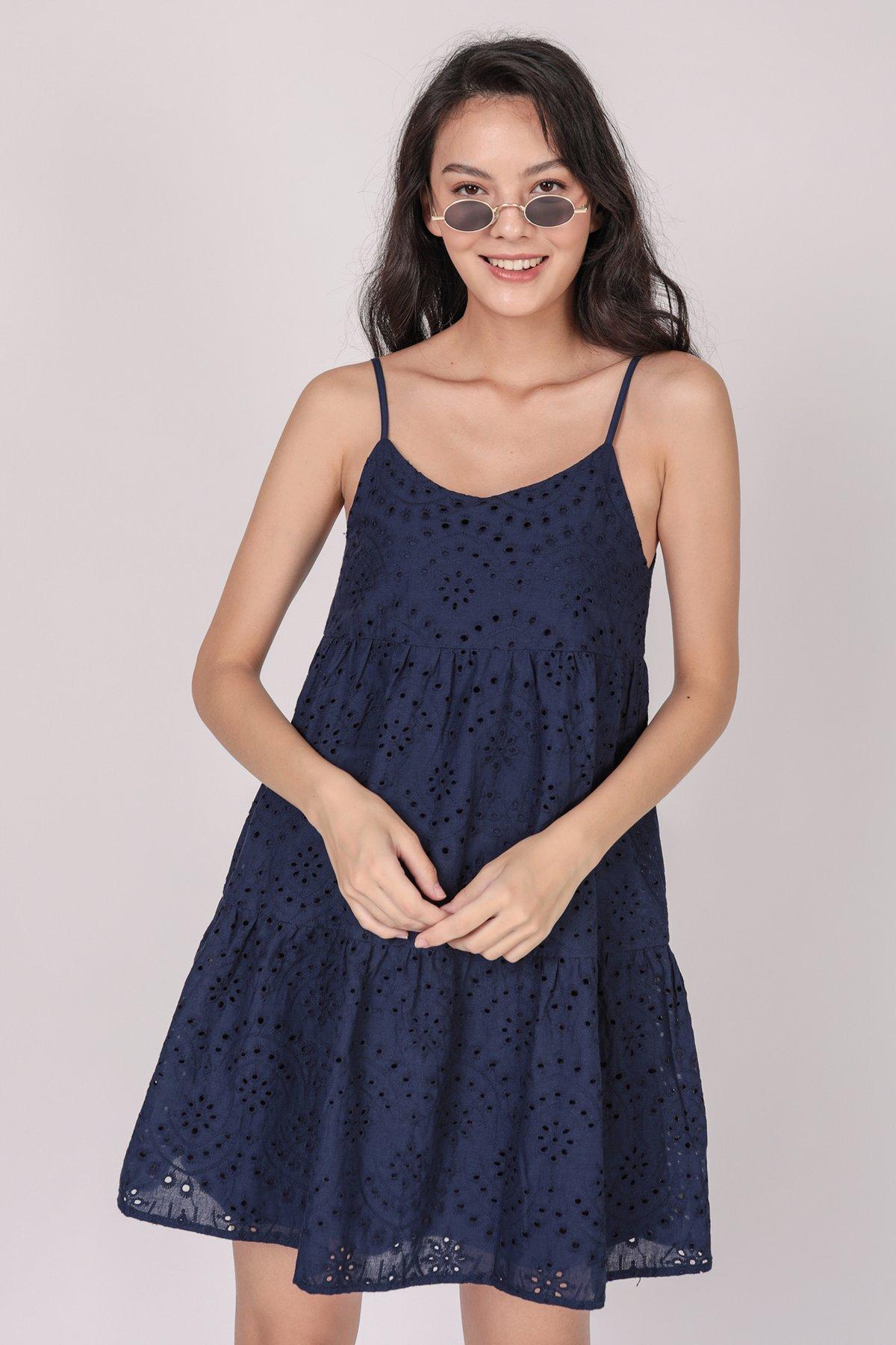Emmy Tiered Spag Dress (Navy Eyelet)