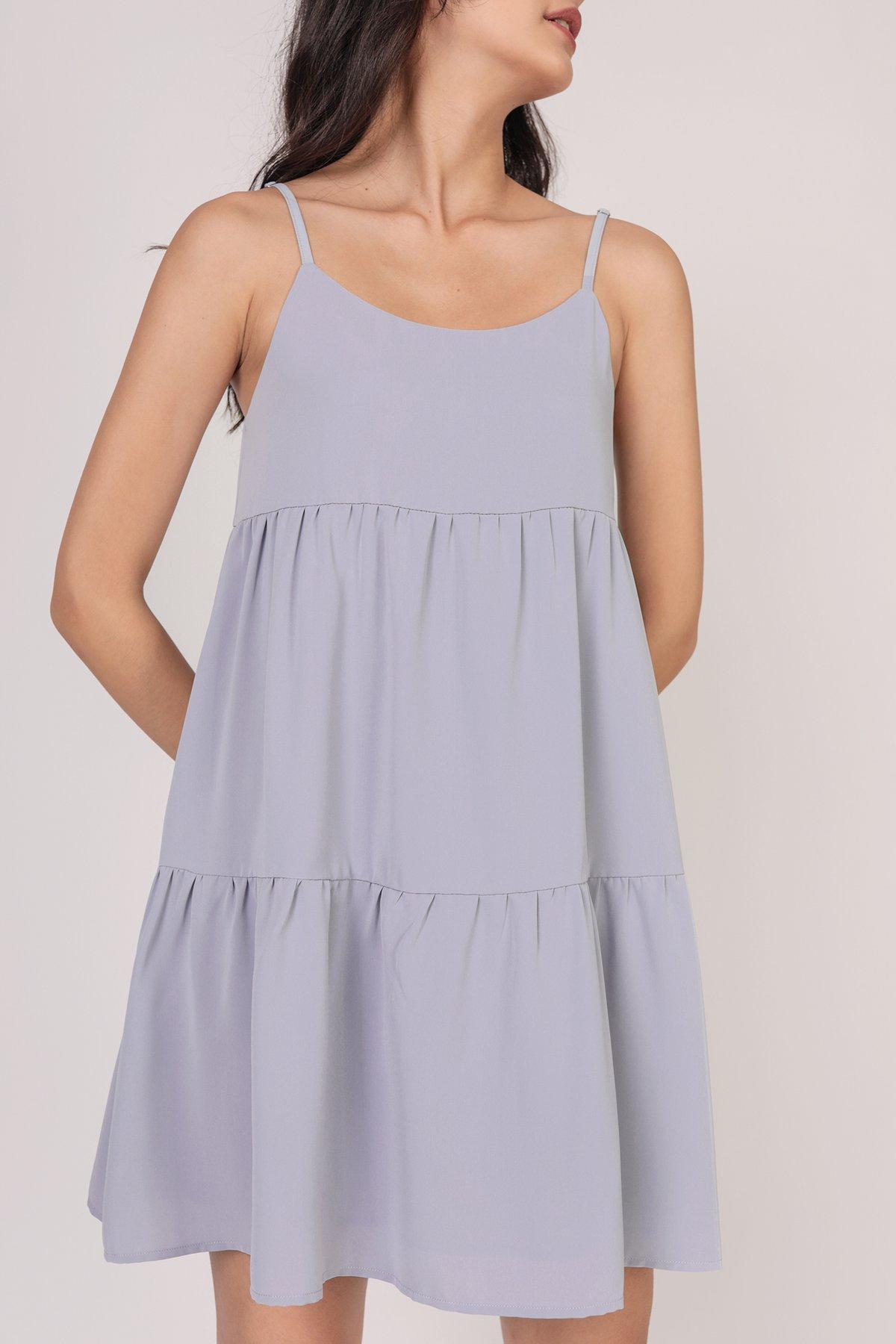 Emmy Tiered Spag Dress (Grey)