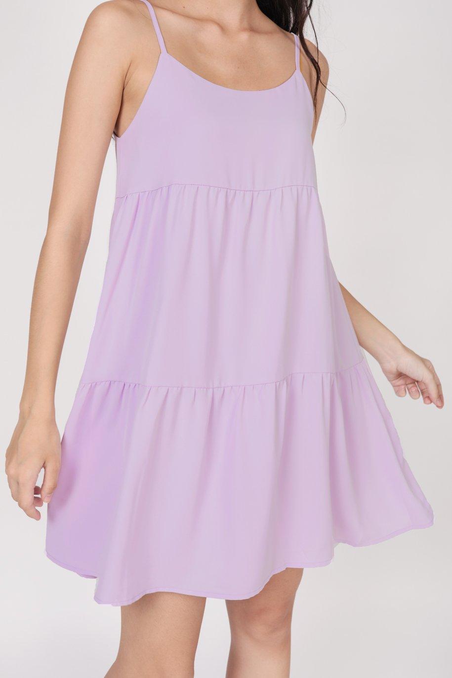 Emmy Tiered Spag Dress (Lilac)