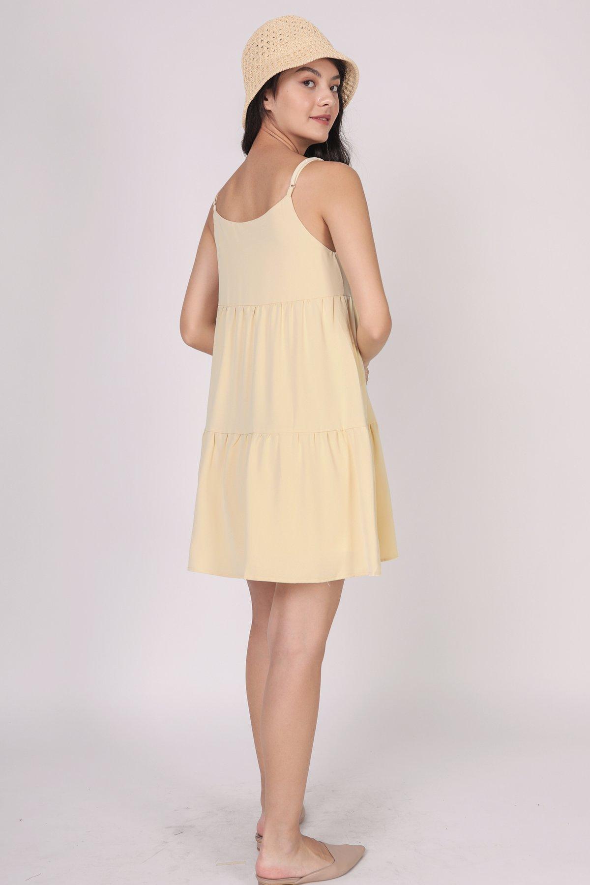Emmy Tiered Spag Dress (Daffodil Yellow)