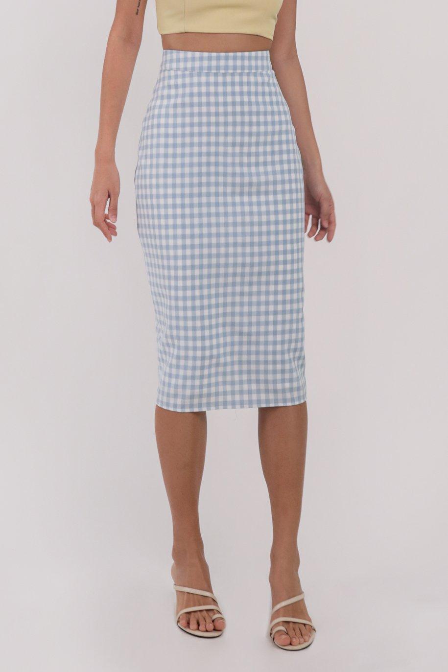 Garin Midi Skirt (Blue Gingham)