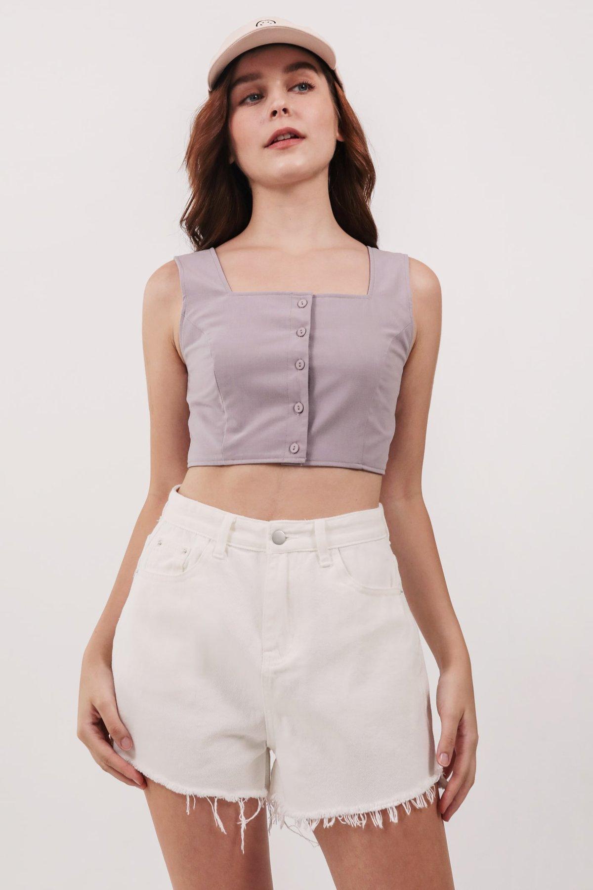 Kori Button Top (Lilac)