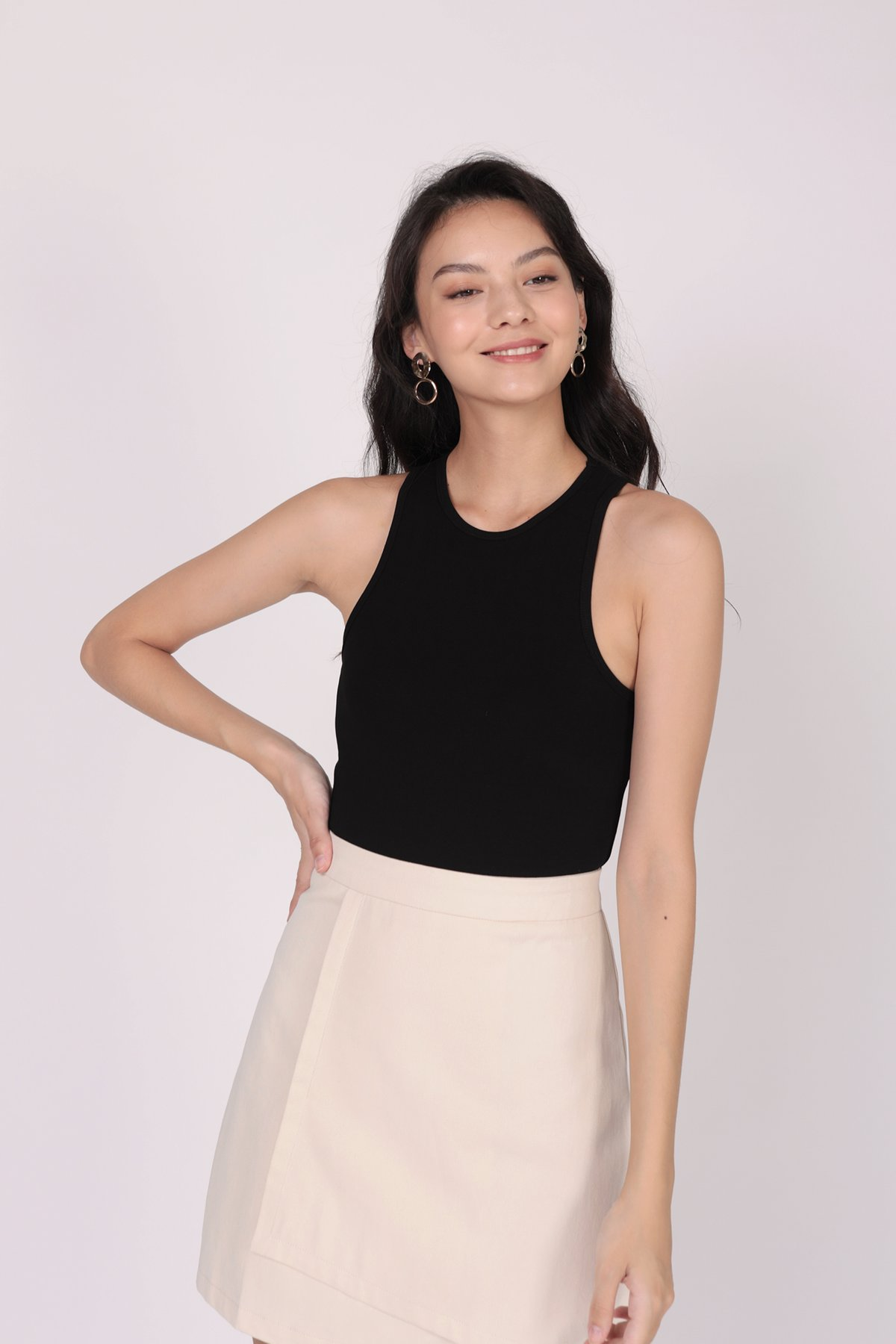 Louie Asymmetrical Skirt (Cream)