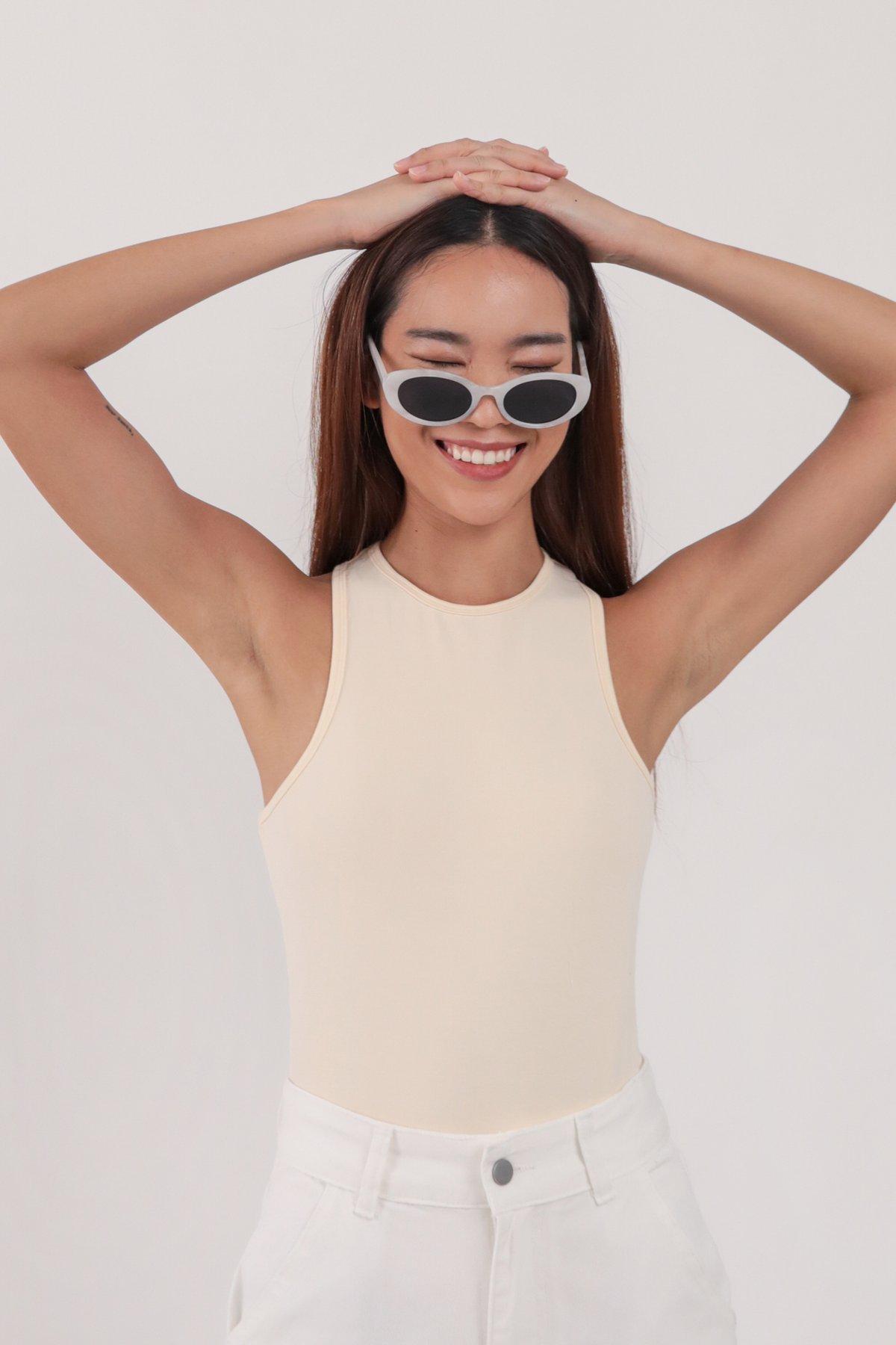 Maddy Racercut Bodysuit (Eggshell)