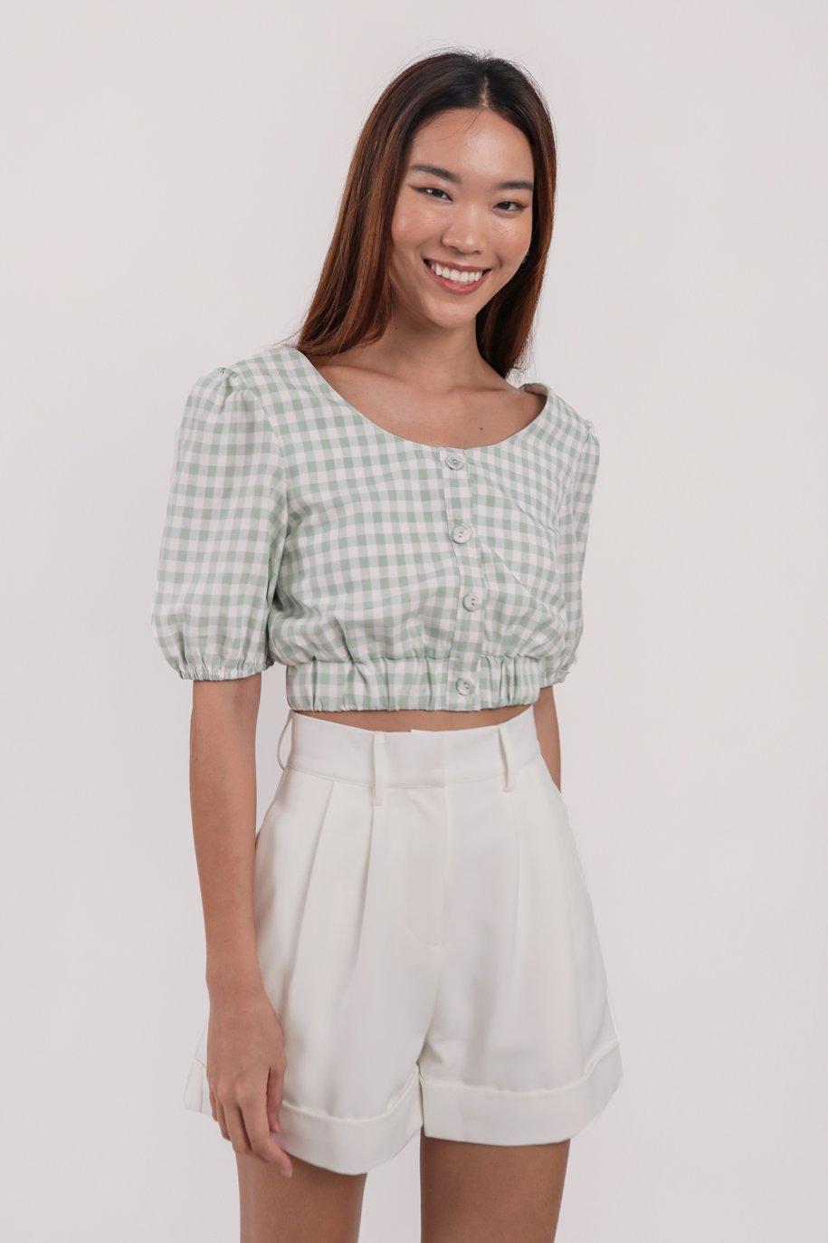 Monica Puffy Sleeve Top (Green Gingham)