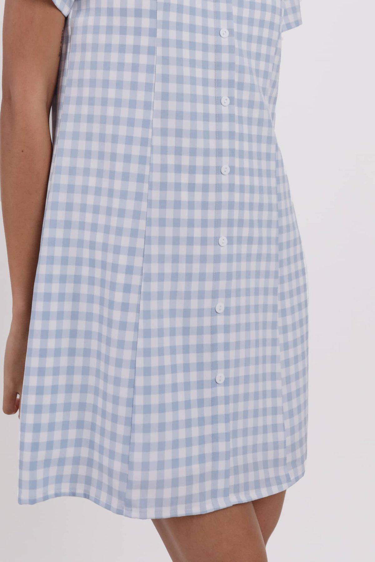 Nally Sleeved Dress (Blue Gingham)