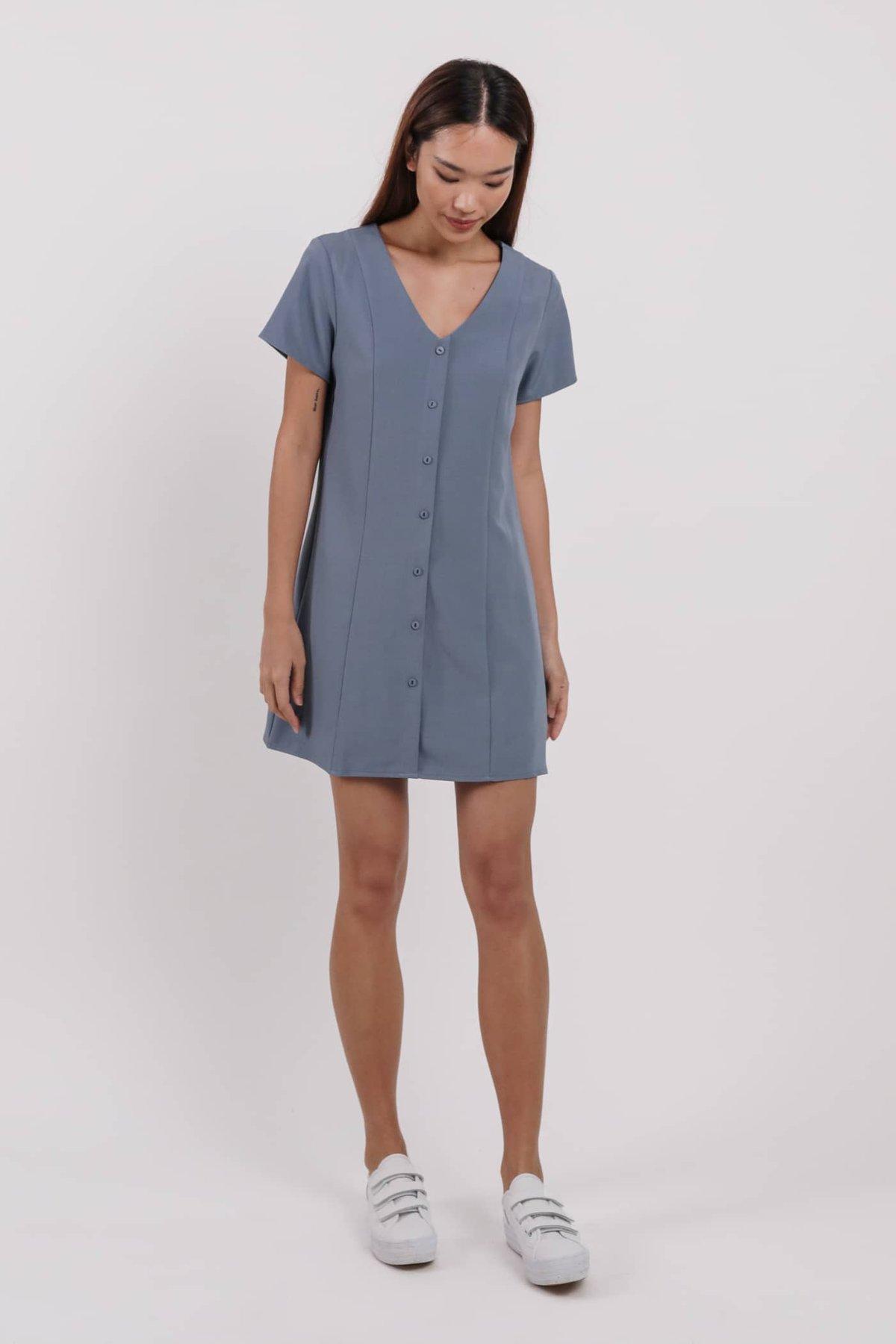 Nally Sleeved Dress (Dusty Blue)