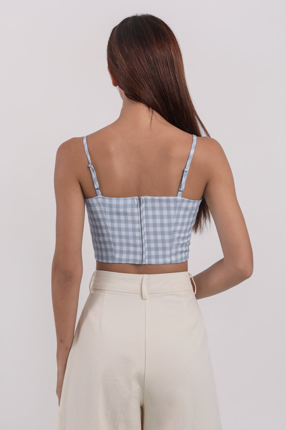 Ora Cropped Top (Blue Gingham)