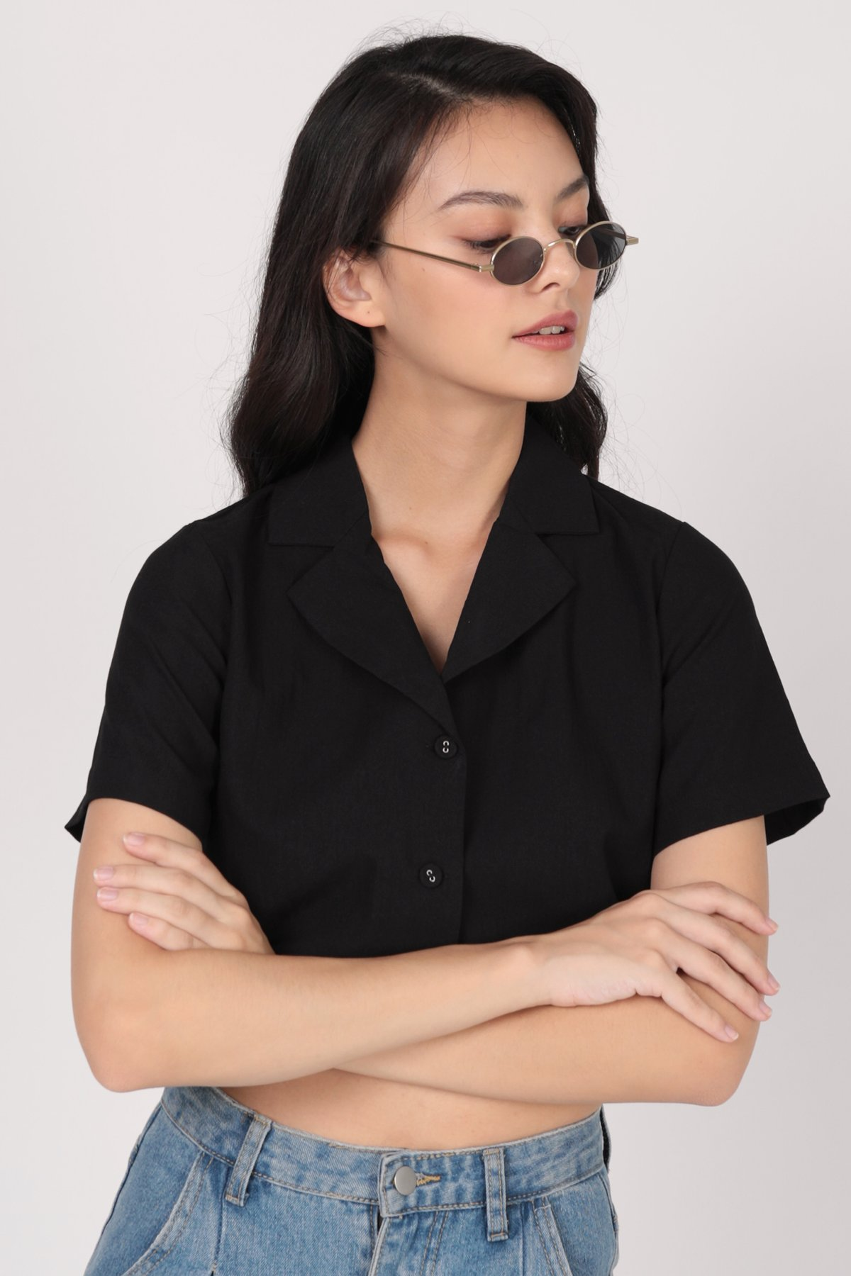 Parco Collared Top (Black)