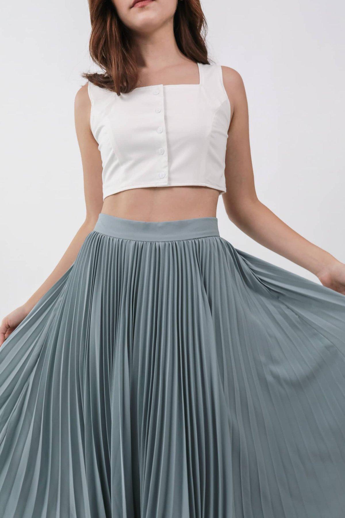 Courtney Pleated Midi Skirt (Dusty Blue)