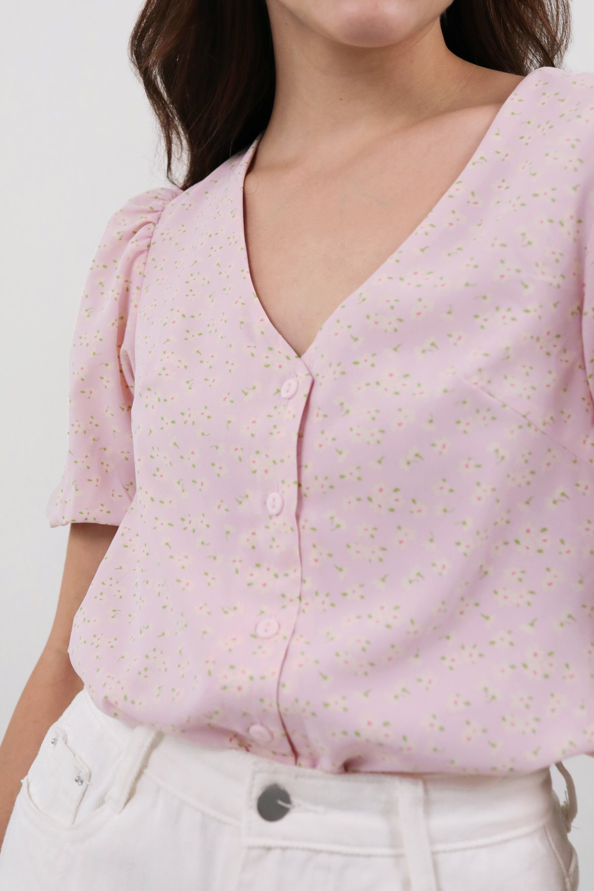 Elora Puffy Sleeved Top (Pink Daisy)