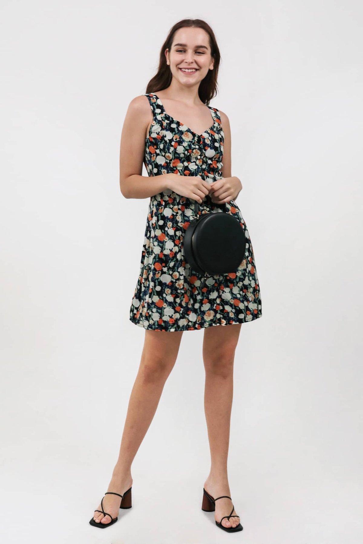 Kyan Button Down Dress (Black Florals)