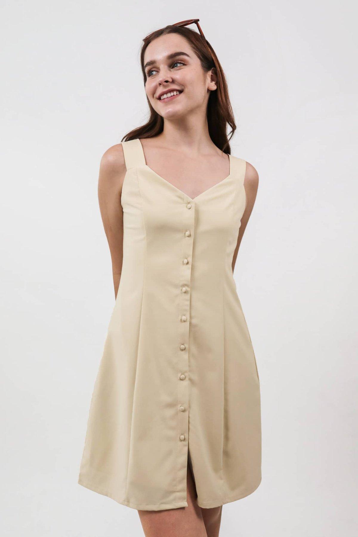 Kyan Button Down Dress (Pale Yellow)