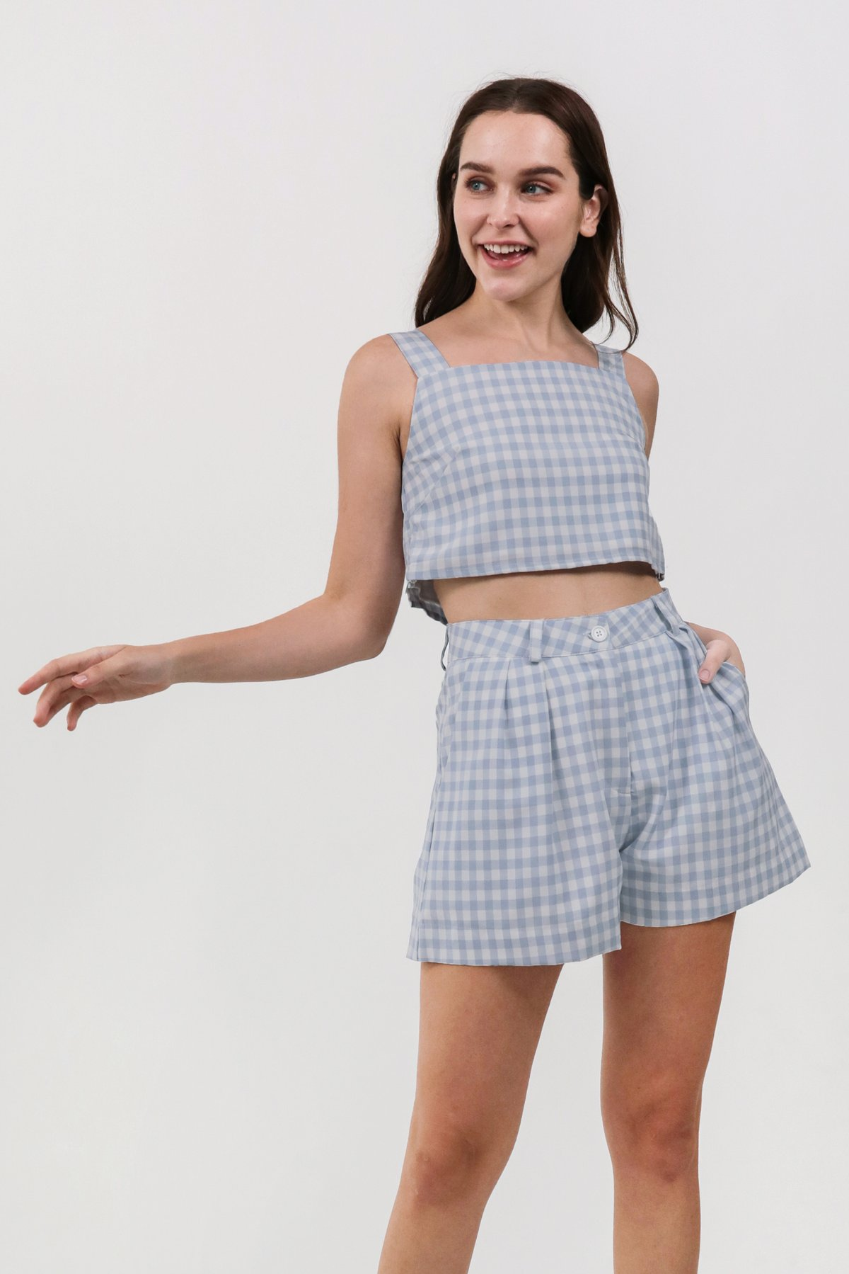 Philly Cropped Top (Blue Gingham)