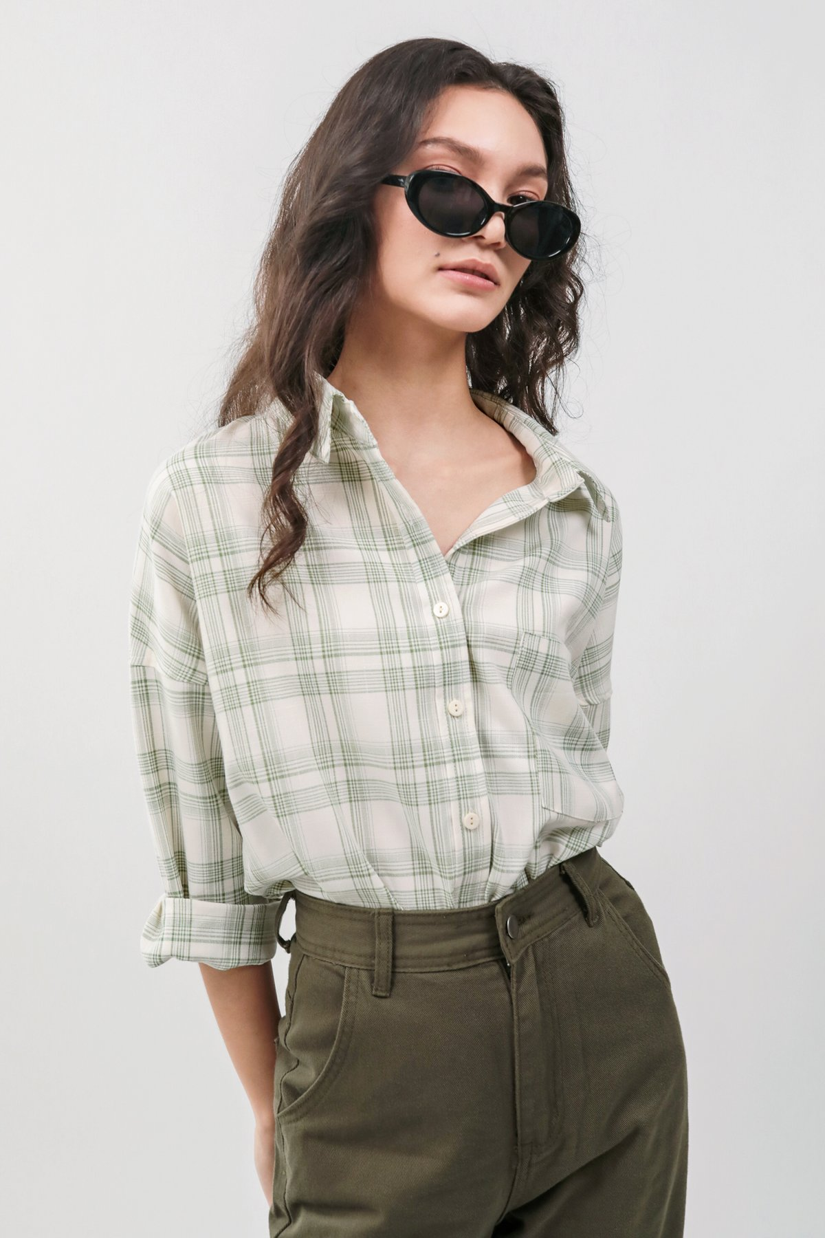 Sanford Boyfriend Shirt (Green Plaids)