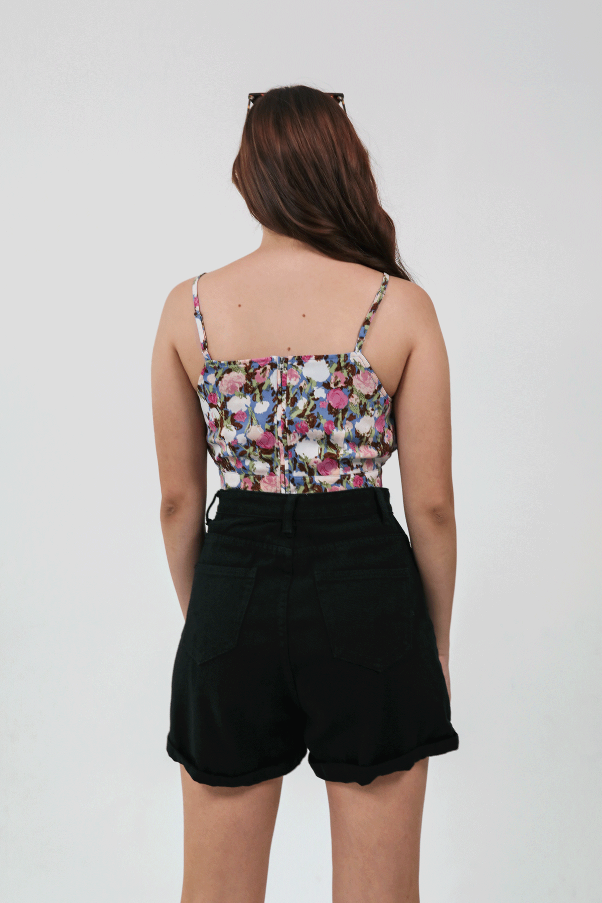 Sidney Cropped Top (Pink Blooms)