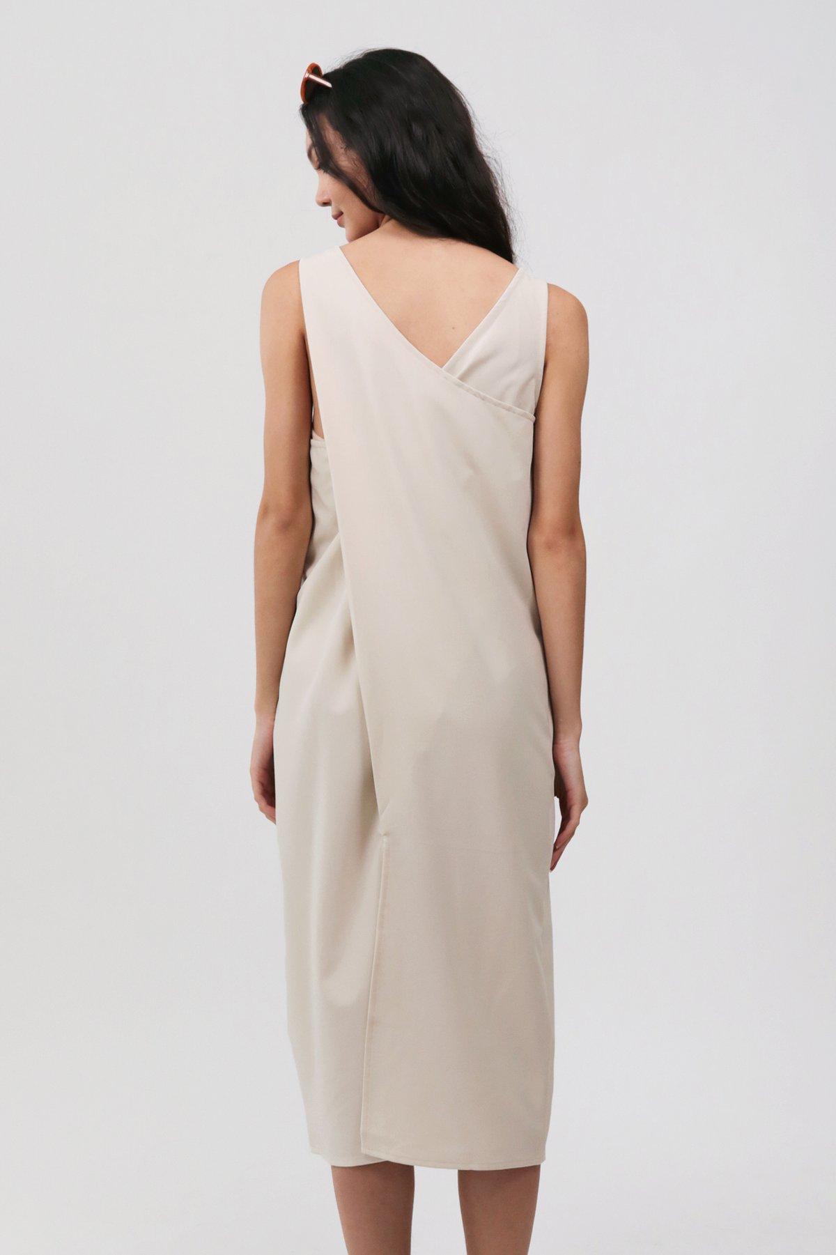 Sil Overlap Dress (Beige)
