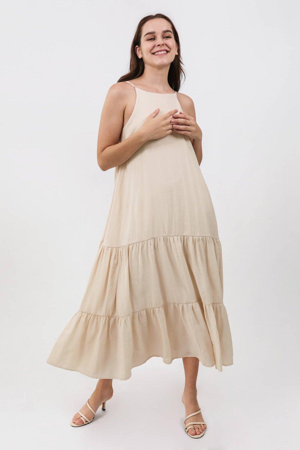 Zarah Two Way Maxi Dress (Nude)