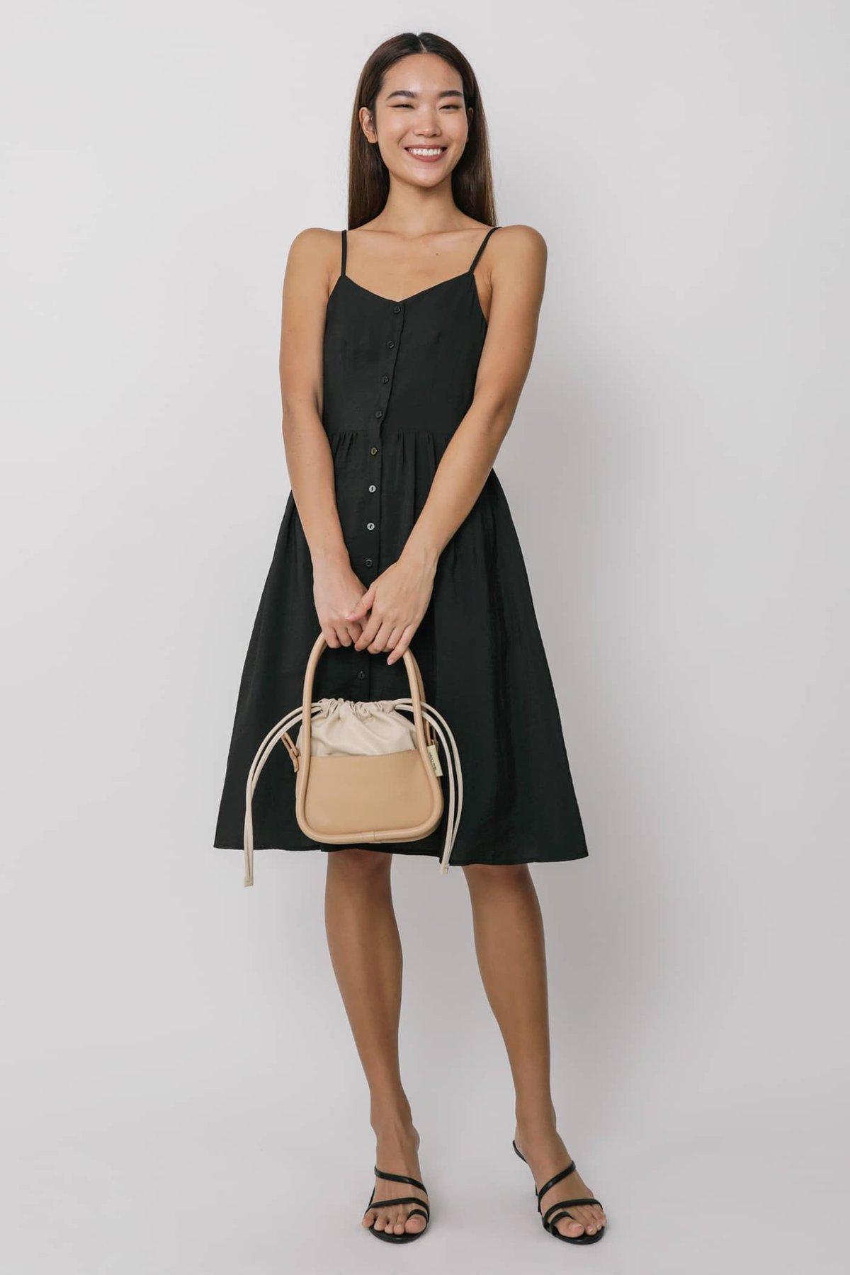 Brittany Button Down Flare Midi Dress (Black)