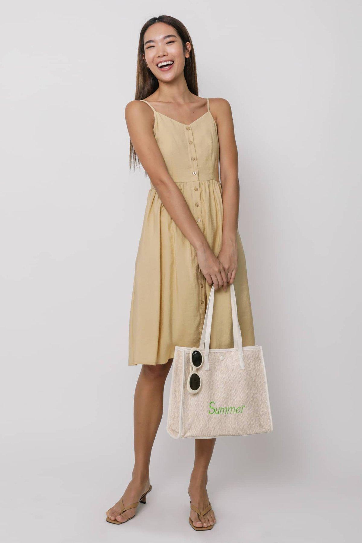 Brittany Button Down Flare Midi Dress (Yellow)