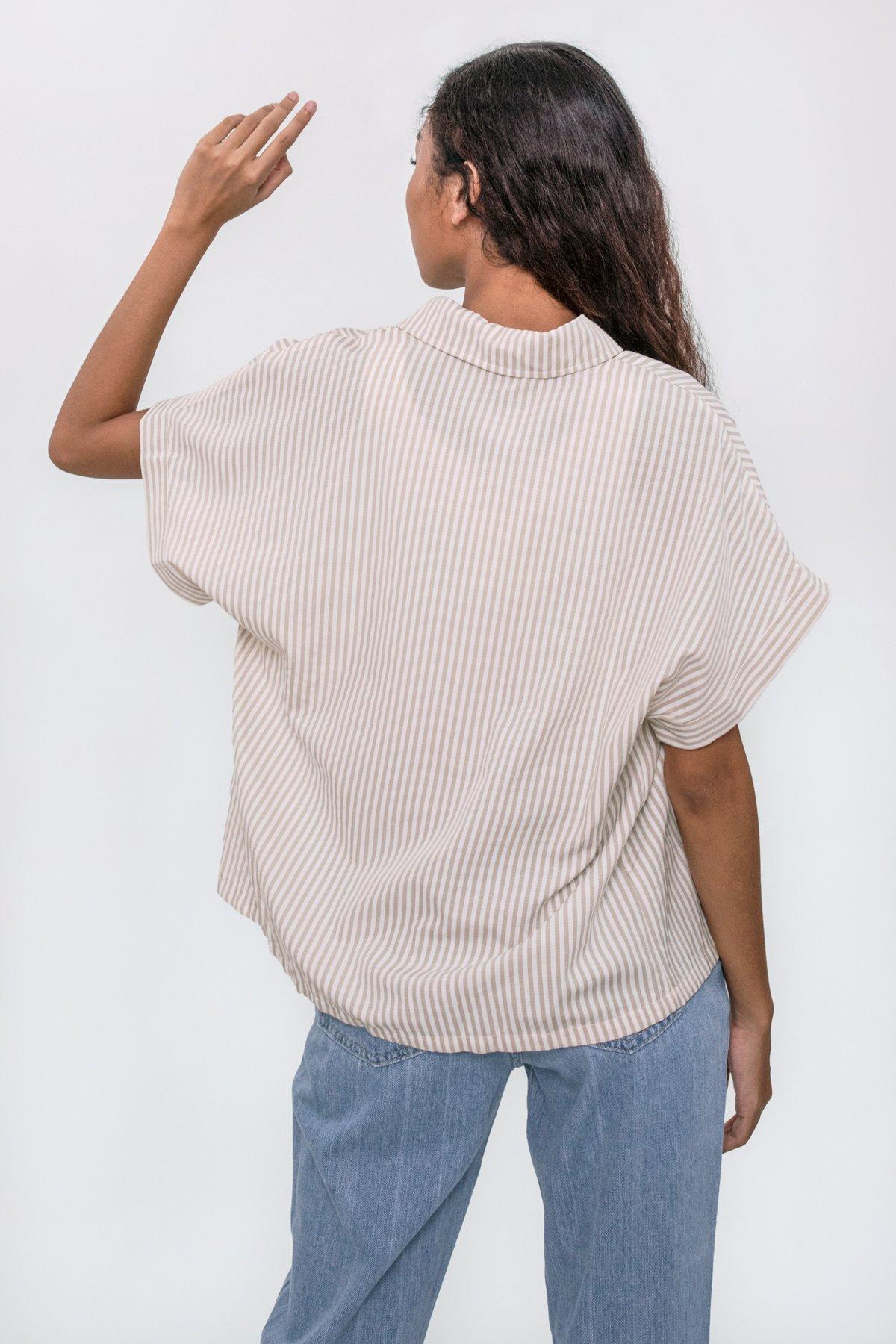 Gavin Short Sleeve Shirt (Beige Stripes)