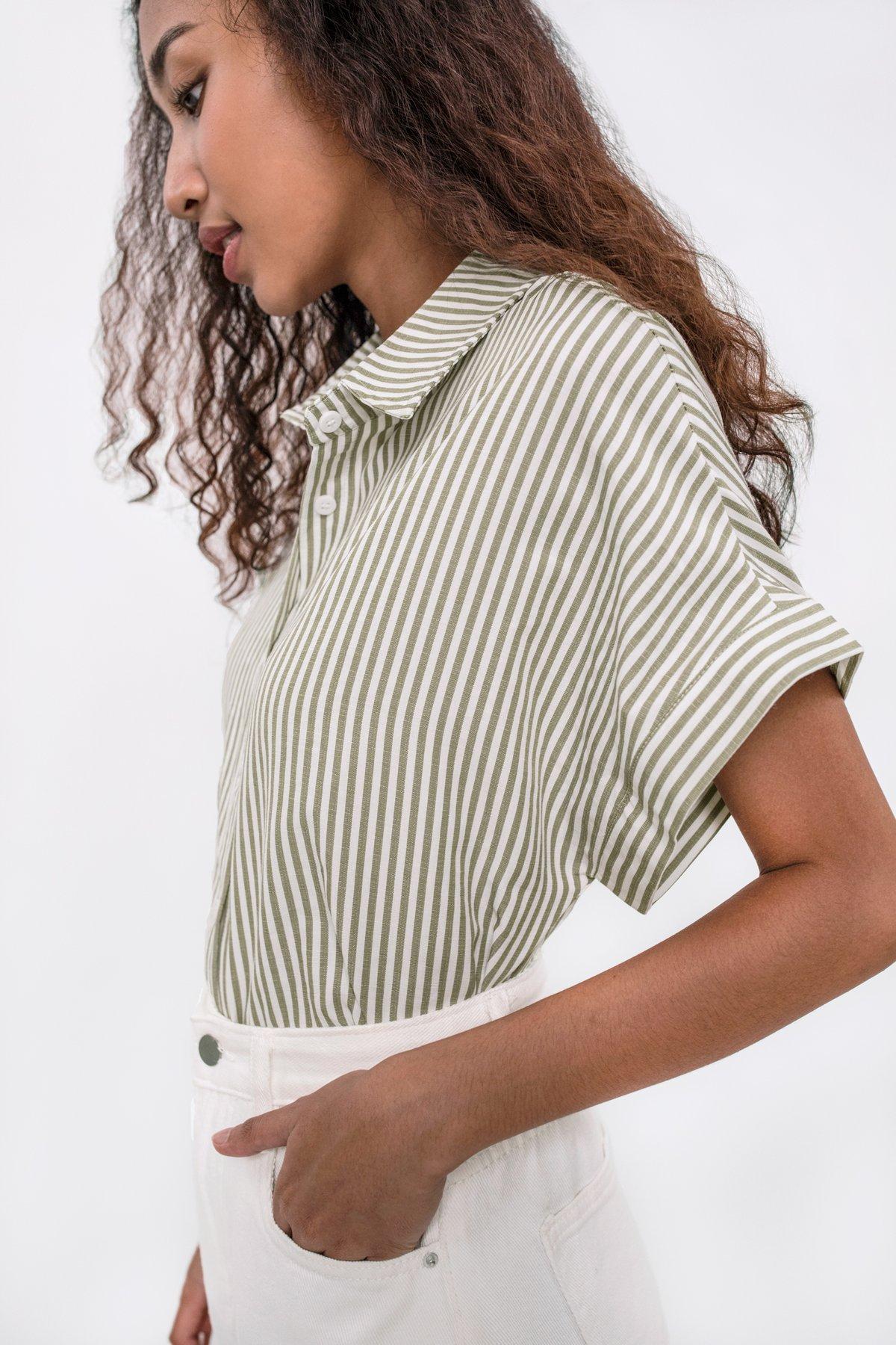 Gavin Short Sleeve Shirt (Green Stripes)