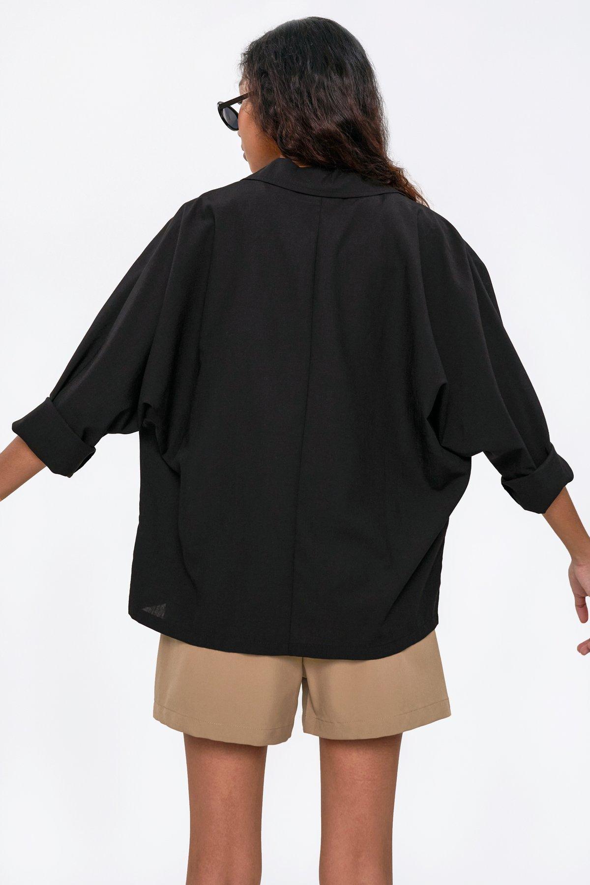 Lance Lightweight Cotton Blazer Shirt (Black)