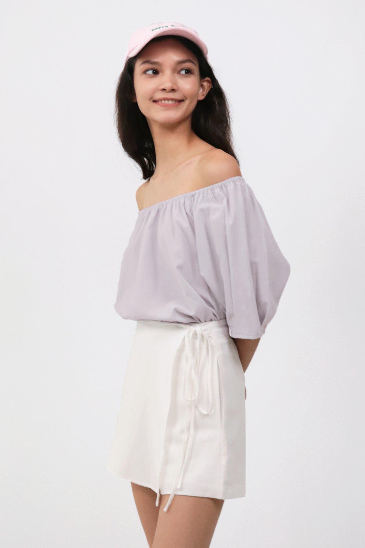 Livie Off Shoulder Top (Ash Lilac)