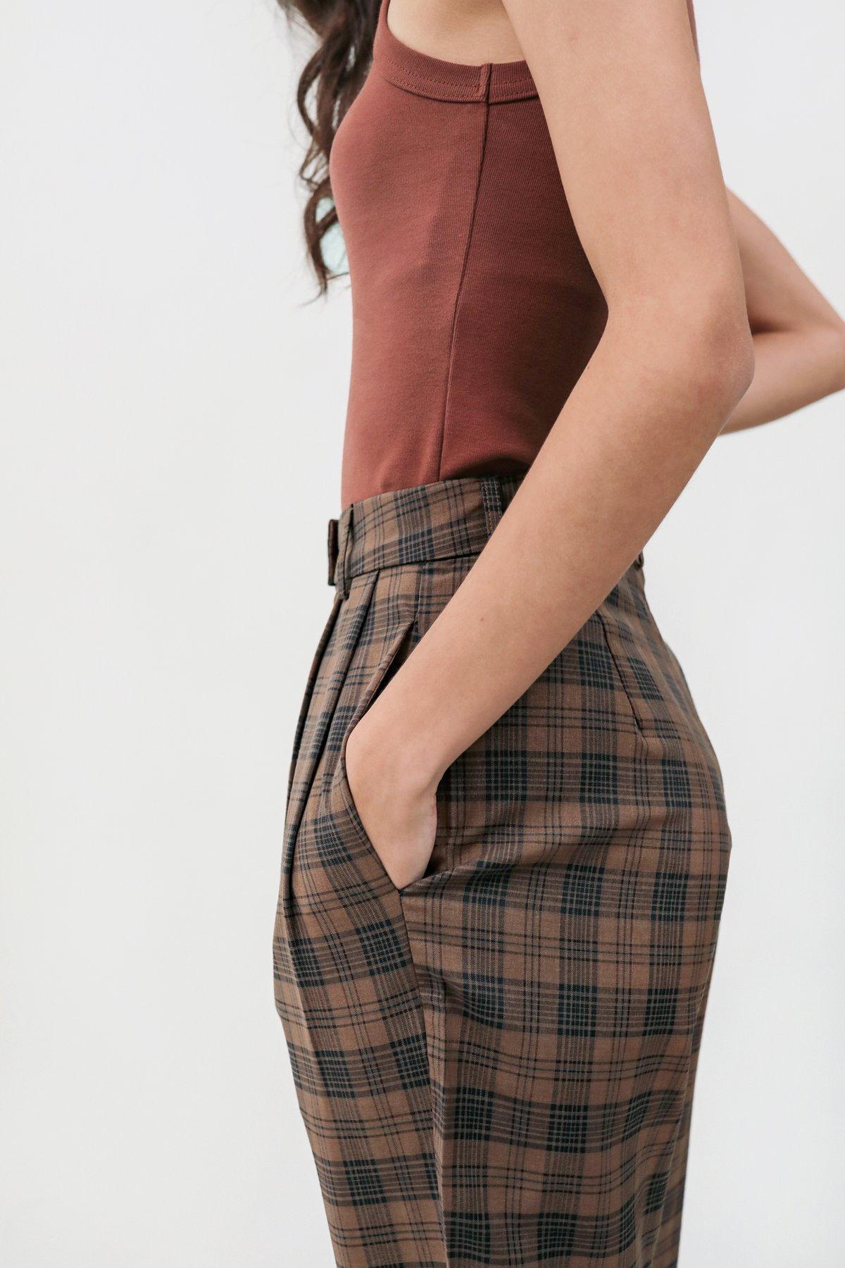 Marshall Peg Leg Pants (Brown Plaids)