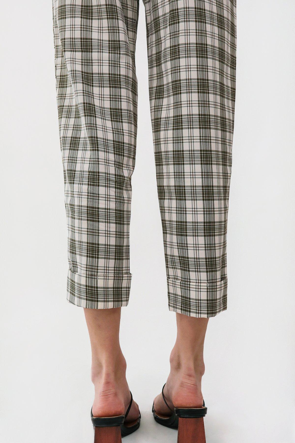 Marshall Peg Leg Pants (White Plaids)