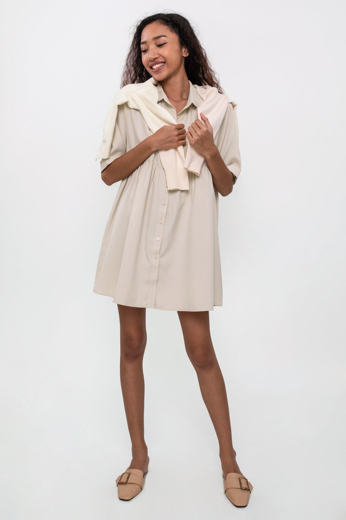 Perry Babydoll Dress (Beige)