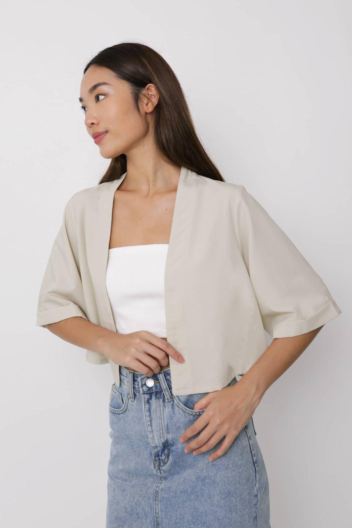 Astra Cropped Kimono (Beige)